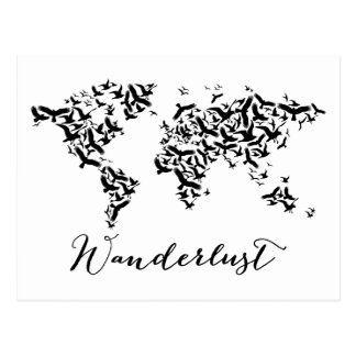 Envie de voyager, carte du monde avec des oiseaux