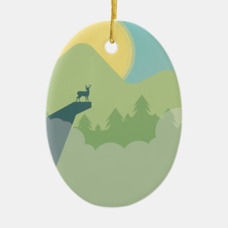 Environnement de forêt de Minimalistic Ornement Ovale En Céramique