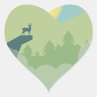 Environnement de forêt de Minimalistic Sticker Cœur