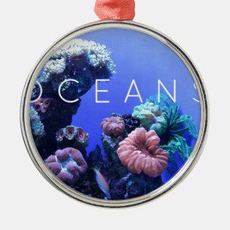 Environnement d'océan ornement rond argenté