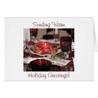 Envoi des salutations chaudes de vacances ! carte de vœux
