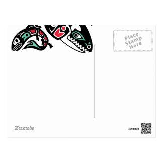 Épaulard d'orque et saumon - graphique couleur de carte postale
