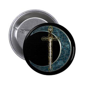 Épée et lune celtiques badge rond 5 cm