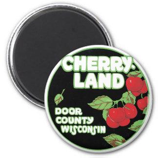Éphémères vintages, Cherryland le comté de Door le Magnet Rond 8 Cm