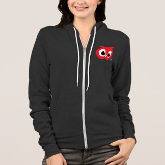 Épicerie rouge de hibou - le sweatshirt à capuchon