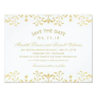 Épousant des économies le charme de cru d'or des carton d'invitation 10,79 cm x 13,97 cm