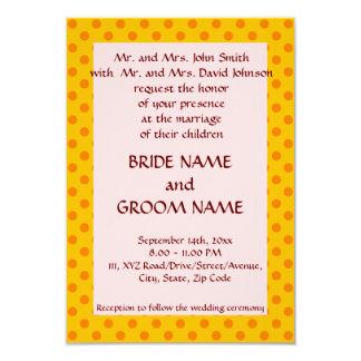 Épousant - le pois orange, dentelle l'arrière - carton d'invitation 8,89 cm x 12,70 cm