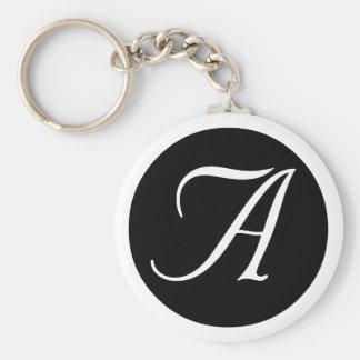 Épousant, tout le porte - clé de noir de monogramm porte-clé rond