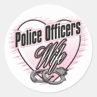 Épouse de policiers sticker rond