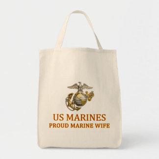 Épouse marine fière sac en toile