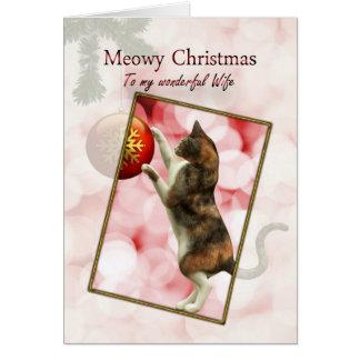 Épouse, Noël de Meowy avec un chat espiègle Carte De Vœux