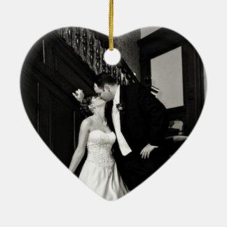 Épouse nouvellement l'ornement de photo ornement cœur en céramique