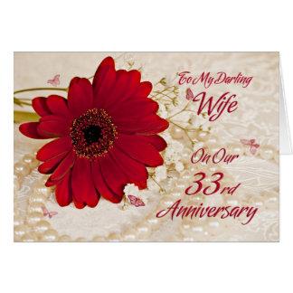 Épouse sur le trente-troisième anniversaire de cartes