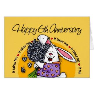 Épouser - 6ème anniversaire heureux carte de vœux