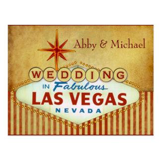 Épouser à Las Vegas fabuleux - rayures vintages Carte Postale