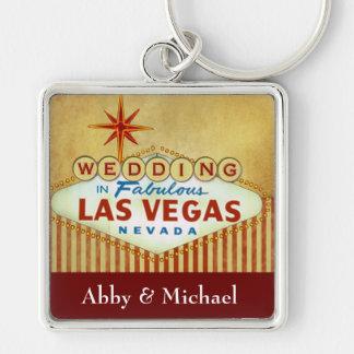 Épouser à Las Vegas fabuleux - rayures vintages Porte-clé Carré Argenté