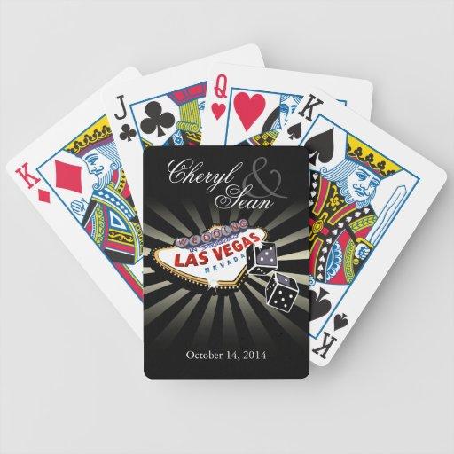 Épouser à Las Vegas noir et argenté de Las Vegas s Jeux De Cartes