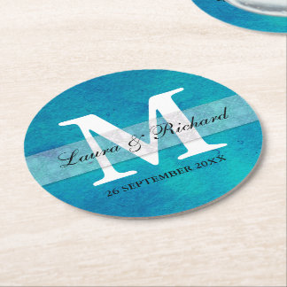 Épouser bleu à la mode d'aquarelle décoré d'un dessous-de-verre rond en papier