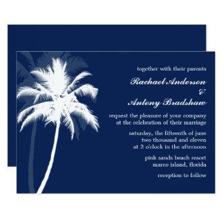 Épouser bleu de palmiers de brise tropicale carton d'invitation  12,7 cm x 17,78 cm