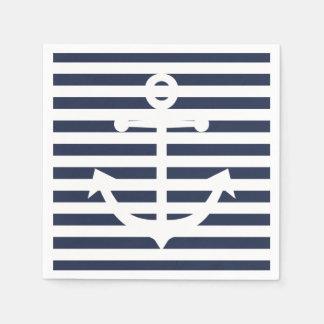 Épouser bleu et blanc d'ancre nautique de rayures serviette en papier