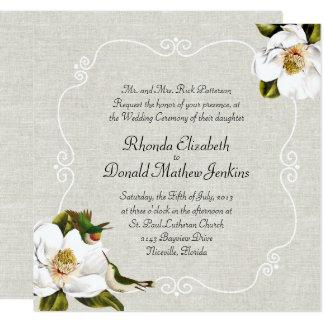 Épouser chic de magnolias du sud et de colibris carton d'invitation  13,33 cm