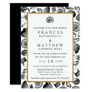 Épouser de coquillages de plage carton d'invitation  11,43 cm x 15,87 cm