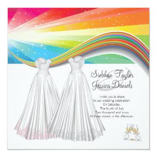 Épouser de deux jeunes mariées carton d'invitation  13,33 cm