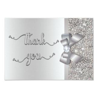 Épouser de Merci de paillettes d'argent d'arc de Carton D'invitation 8,89 Cm X 12,70 Cm