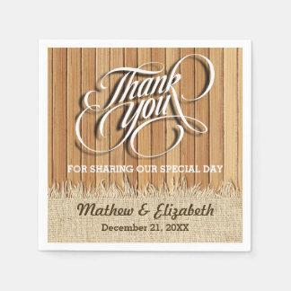 Épouser du bois de Merci de toile de jute Serviettes Jetables