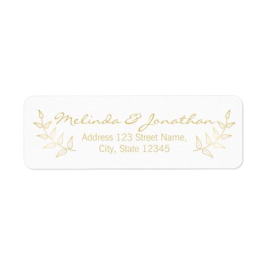Épouser élégant de lauriers d'or étiquette d'adresse retour