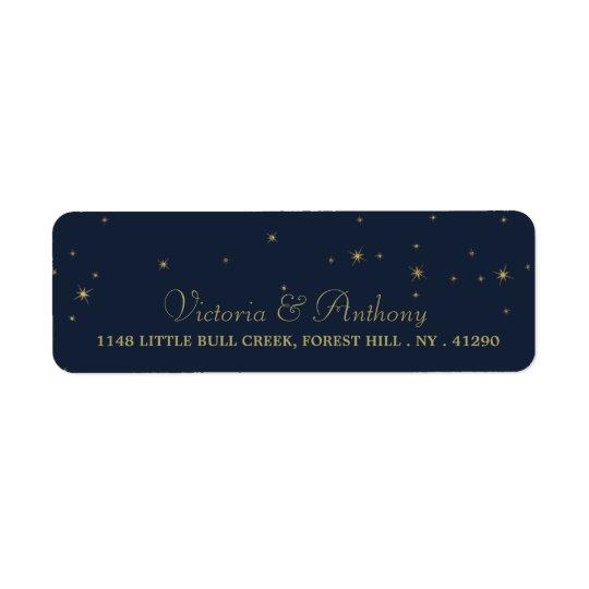 Épouser élégant d'étoiles filantes de marine et étiquette d'adresse retour