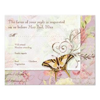Épouser floral de fleurs de tulipe rose de pivoine carton d'invitation 10,79 cm x 13,97 cm