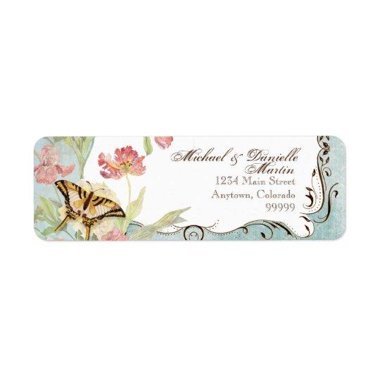 Épouser floral de fleurs de tulipe rose de pivoine étiquette d'adresse retour