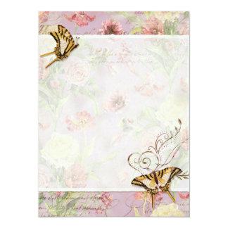 Épouser floral de fleurs de tulipe rose de pivoine carton d'invitation  13,97 cm x 19,05 cm