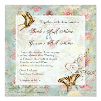 Épouser floral de fleurs de tulipe rose de pivoine carton d'invitation  13,33 cm