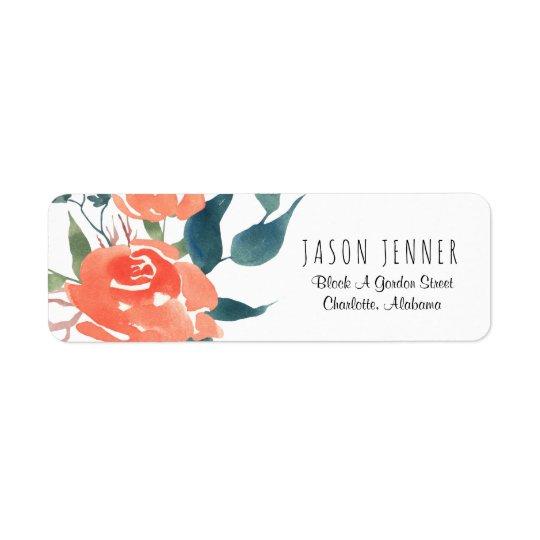 Épouser floral de rose rouge d'aquarelle chic étiquette d'adresse retour