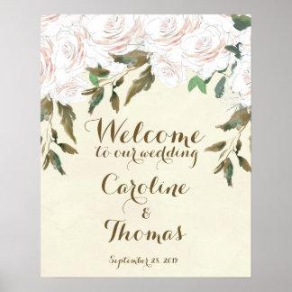Épouser floral élégant d'affiche de signe bienvenu posters