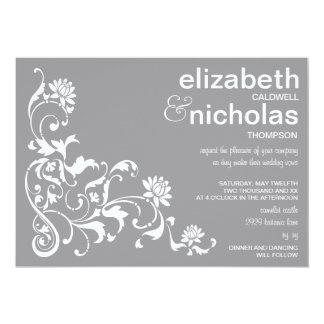 Épouser floral élégant de Flourish Invitation-gris Carton D'invitation 12,7 Cm X 17,78 Cm