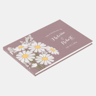 Épouser floral élégant de marguerites blanches livre d'or