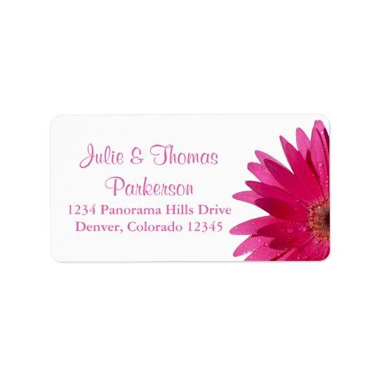 Épouser la marguerite rose de retour de étiquette d'adresse