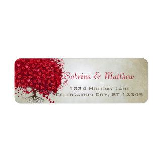 Épouser l'adresse de retour de coeur d'arbre rouge étiquette d'adresse retour