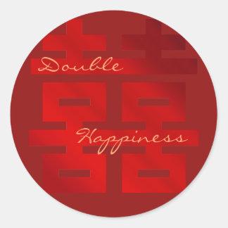 Épouser le double bonheur du rouge XI : Sticker Rond