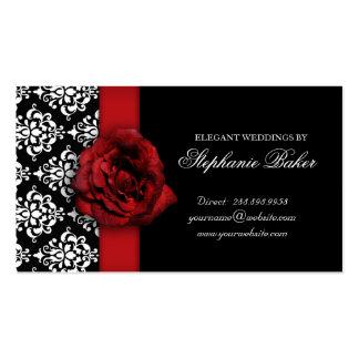 Épouser le rendez-vous de damassé de rose rouge cartes de visite personnelles
