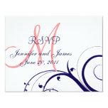 Épouser le rose de corail de bleu marine de remous carton d'invitation 10,79 cm x 13,97 cm