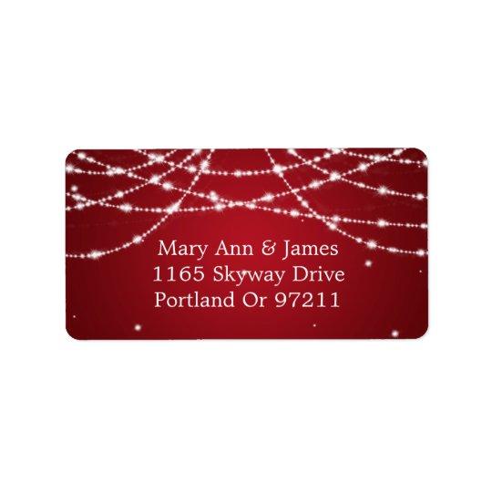 Épouser le rouge de scintillement de ficelle étiquette d'adresse