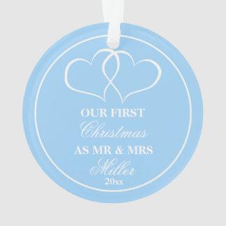 Épouser les premiers coeurs de bleu d'ornement de