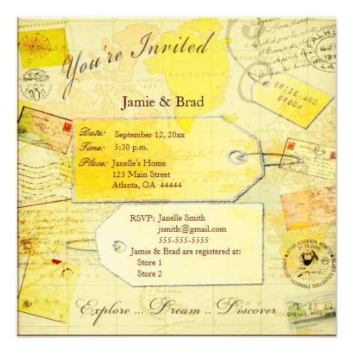 Épouser l'invitation de thème de voyage
