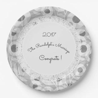 Épouser+Mod+Lace-Floral_Gray-Template-Name Assiettes En Papier