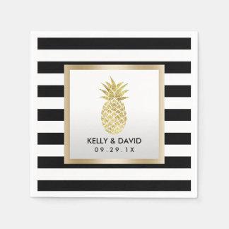 Épouser moderne de rayures d'ananas tropical d'or serviette en papier