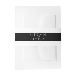 Épouser noir et blanc de rayures bandeaux de faire-part